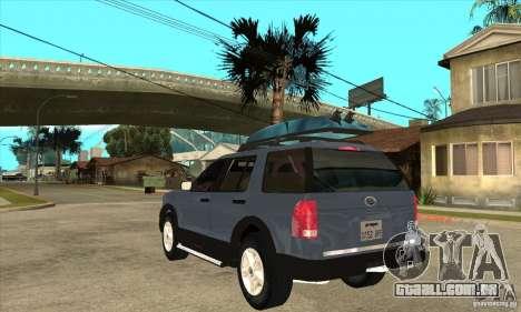 Ford Explorer 2004 para GTA San Andreas traseira esquerda vista