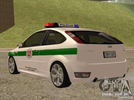 Ford Focus ST Policija para GTA San Andreas traseira esquerda vista