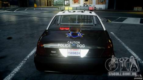 Ford Crown Victoria SFPD K9 Unit [ELS] para GTA 4 interior