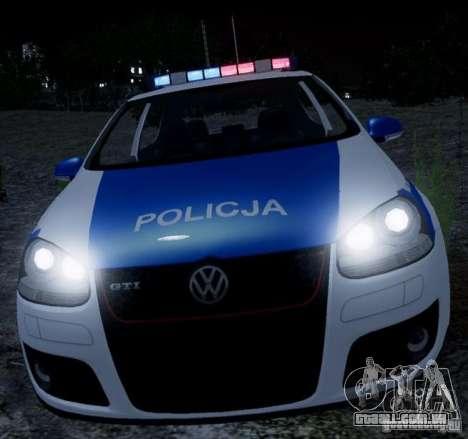 Volkswagen Golf V Polish Police para GTA 4 esquerda vista