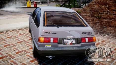 Toyota Sprinter Trueno 1986 para GTA 4 traseira esquerda vista