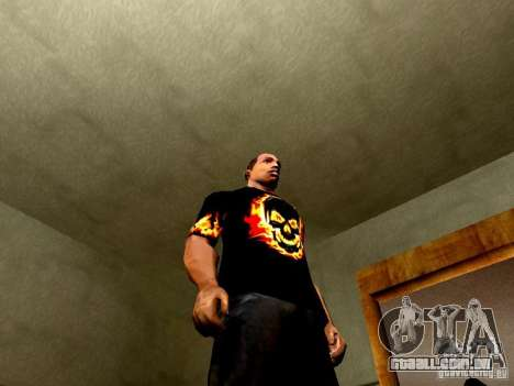 Camiseta preta com uma caveira para GTA San Andreas por diante tela