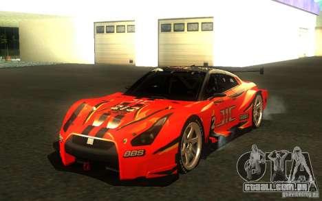 Nissan Skyline R35 GTR para GTA San Andreas vista inferior