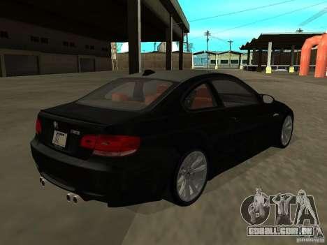 BMW M3 E92 Tunable para GTA San Andreas esquerda vista