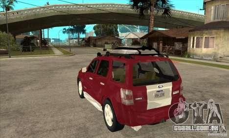 Ford Escape 2009 para GTA San Andreas traseira esquerda vista