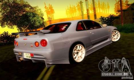 Nissan Skyline GT-R R34 para GTA San Andreas vista direita