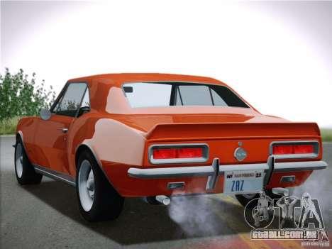 Chevrolet Camaro SS 1967 para GTA San Andreas vista traseira