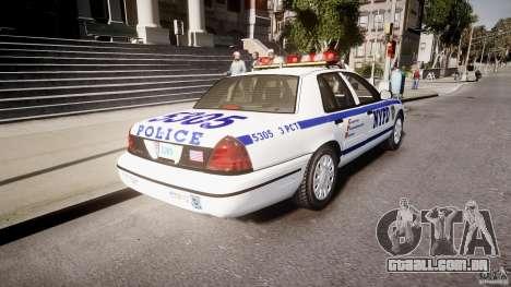 Ford Crown Victoria Police Department 2008 NYPD para GTA 4 traseira esquerda vista