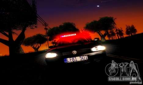 Volkswagen Golf Police para GTA San Andreas traseira esquerda vista