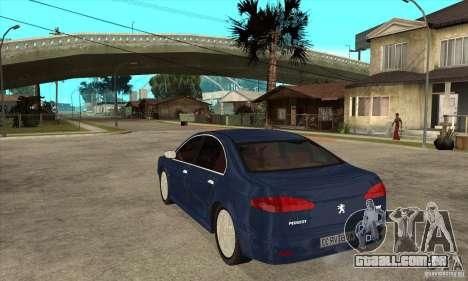 Peugeot 607 para GTA San Andreas traseira esquerda vista