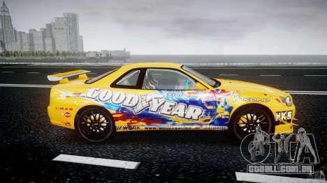 Nissan Skyline R34 GT-R Tezuka Goodyear D1 Drift para GTA 4 vista interior