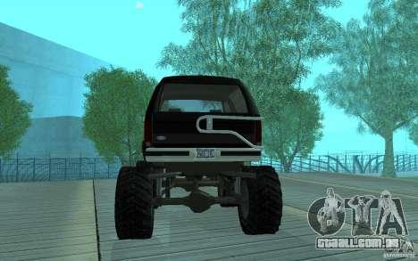 Ford Bronco Monster Truck 1985 para GTA San Andreas vista direita