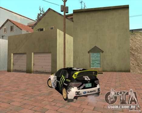 Subaru Impreza Ken Block para GTA San Andreas traseira esquerda vista