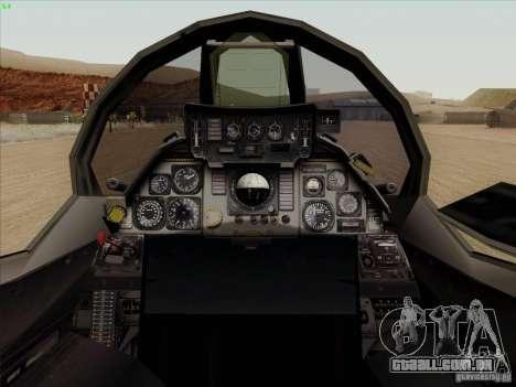 F-14 Tomcat Warwolf para GTA San Andreas vista interior