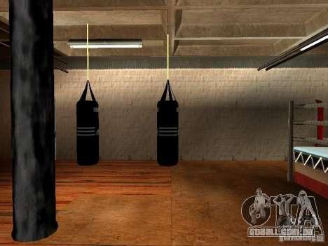 Novo saco de pancadas boxe para GTA San Andreas por diante tela