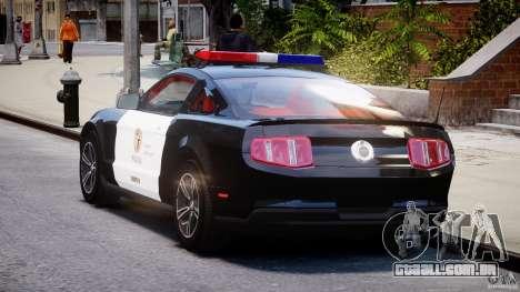 Ford Mustang V6 2010 Police v1.0 para GTA 4 traseira esquerda vista