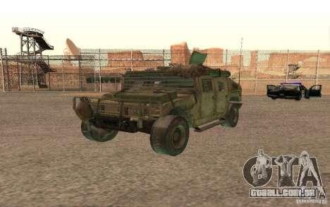 Hummer Spec Ops The Line para GTA San Andreas vista interior