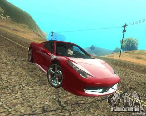 Ferrari 458 Italia Convertible para GTA San Andreas vista superior