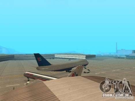 Boeing 747-100 United Airlines para GTA San Andreas vista direita