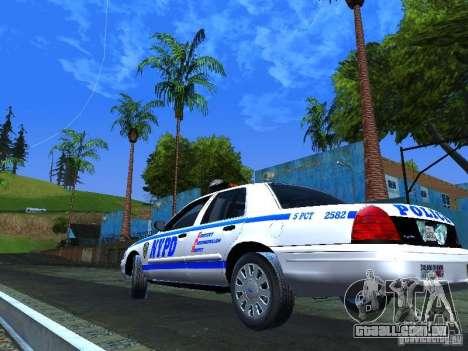 Ford Crown Victoria 2009 New York Police para GTA San Andreas vista traseira