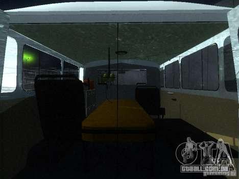 UAZ 3962 ambulância para GTA San Andreas vista interior