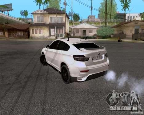 BMW X6 para GTA San Andreas traseira esquerda vista