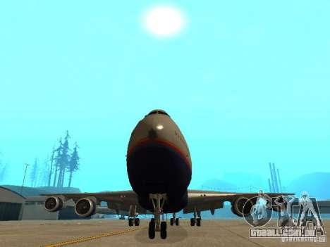 Boeing 747-100 United Airlines para GTA San Andreas vista interior