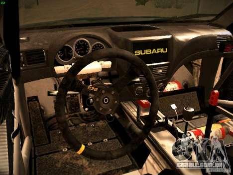 Subaru impreza Tarmac Rally para GTA San Andreas vista traseira