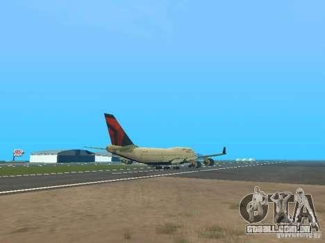 Boeing 747-400 Delta Airlines para GTA San Andreas vista direita