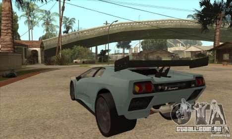 Lamborghini Diablo GT-R para GTA San Andreas traseira esquerda vista