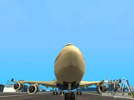 Boeing 747-400 Delta Airlines para vista lateral GTA San Andreas