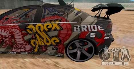 Mitsubishi Lancer Evolution RYO Vatanabe para GTA San Andreas vista traseira