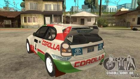 Toyota Corolla 1999 Rally Champion para GTA San Andreas vista traseira