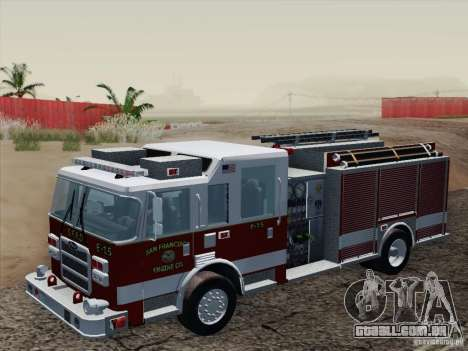 Pierce Pumpers. San Francisco Fire Departament para GTA San Andreas vista interior
