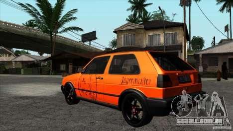 VW Golf 2 para vista lateral GTA San Andreas