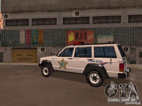 Jeep Cherokee Police 1988 para GTA San Andreas esquerda vista
