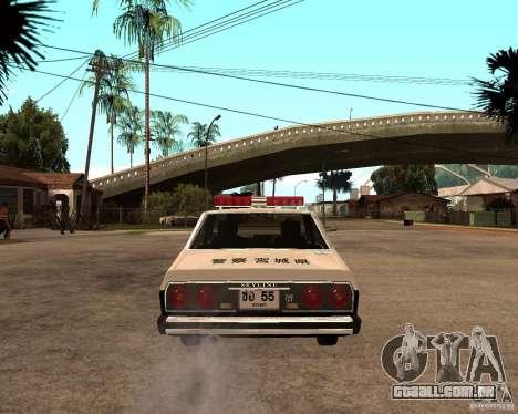 Nissan Skyline 2000 GT Police para GTA San Andreas traseira esquerda vista