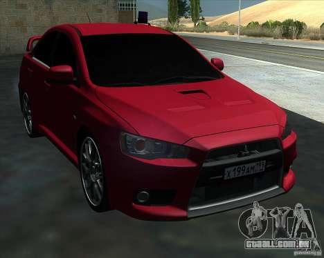 Mitsubishi Lancer Evolution X MR1 v2.0 para GTA San Andreas