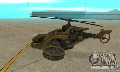 Um helicóptero do jogo TimeShift Brown para GTA San Andreas traseira esquerda vista
