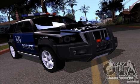 NFS Undercover Police SUV para GTA San Andreas vista direita