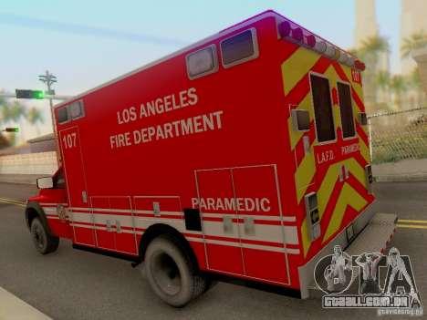 Dodge Ram 1500 LAFD Paramedic para GTA San Andreas traseira esquerda vista