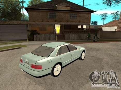Audi A8 Long 6.0 W12 2002 para GTA San Andreas vista traseira