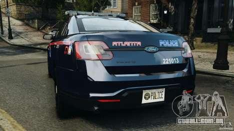 Ford Taurus 2010 Atlanta Police [ELS] para GTA 4 traseira esquerda vista