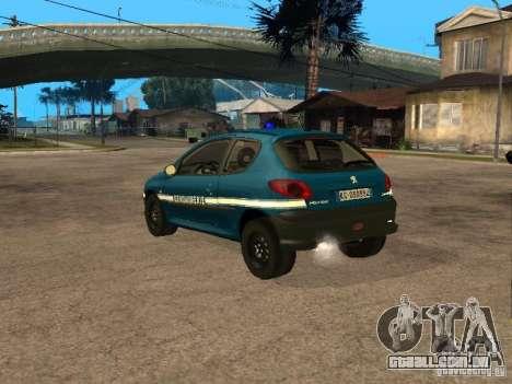 Peugeot 206 Police para GTA San Andreas esquerda vista