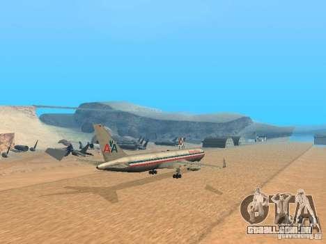 Boeing 767-300 American Airlines para GTA San Andreas traseira esquerda vista