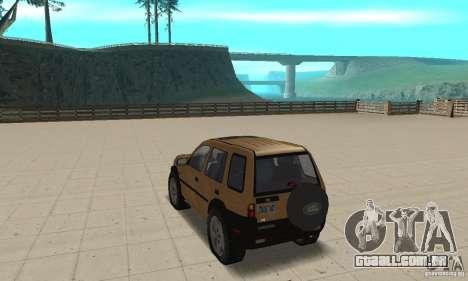 Land Rover Freelander KV6 para GTA San Andreas traseira esquerda vista