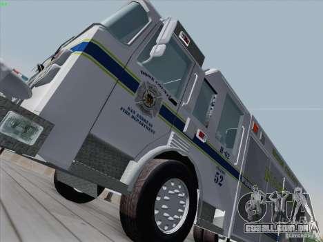 Pierce Fire Rescues. Bone County Hazmat para GTA San Andreas esquerda vista