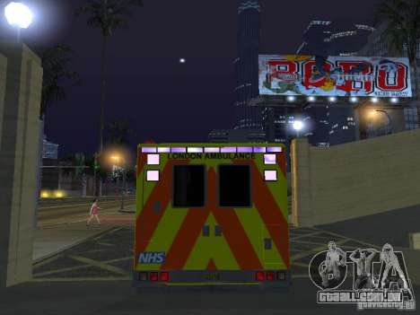 London Ambulance para GTA San Andreas vista interior