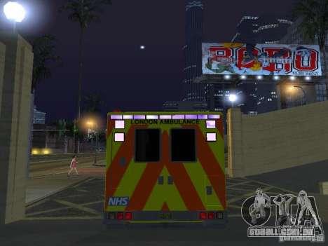 London Ambulance para GTA San Andreas vista interior