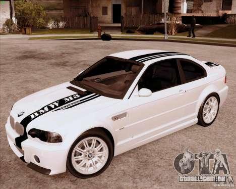 BMW M3 E46 stock para GTA San Andreas esquerda vista